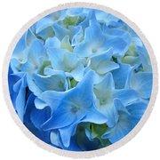 Blue Hydrangea Floral Flowers Art Prints Baslee Troutman Round Beach Towel