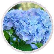 Blue Hydrangea Flowers Art Botanical Nature Garden Prints Round Beach Towel