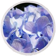 Blue Hydrangea Flowers Art Prints Baslee Troutman Round Beach Towel