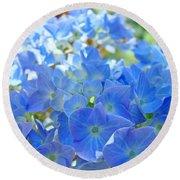 Blue Hydrangea Flowers Art Prints Summer Hydrangeas Baslee Round Beach Towel
