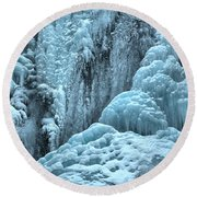 Blue Ice Flows At Tangle Falls Round Beach Towel