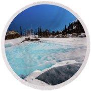 Blue Ice Sheet - Lake Hiayaha Round Beach Towel