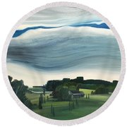 Blue In The Sky Round Beach Towel