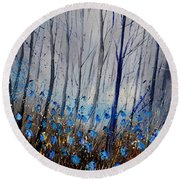 Blue In The Wood Round Beach Towel