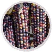 Blue Indian Corn Round Beach Towel