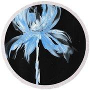 Blue Iris Bulb Round Beach Towel
