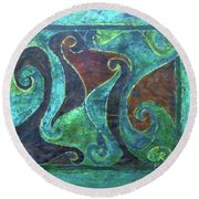 Blue Island Curves Round Beach Towel