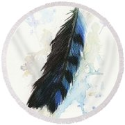 Blue Jay Feather Splash Round Beach Towel by Brandy Woods
