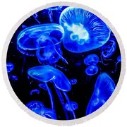 Blue Jellies Round Beach Towel