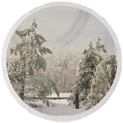 Blue Knob Winter Round Beach Towel