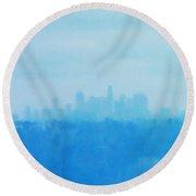 Blue L. A. Round Beach Towel