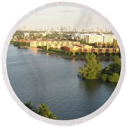 Blue Lagoon Miami Round Beach Towel