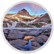 Blue Lake Sunrise Round Beach Towel
