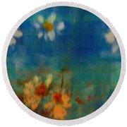 Blue Landscape In Oil Round Beach Towel