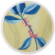 Blue Leaves And Berries Round Beach Towel