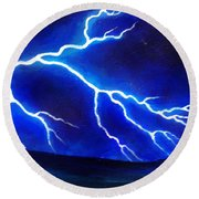 Blue Lightning Above The Ocean Round Beach Towel