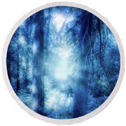 Blue Lights Round Beach Towel