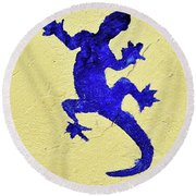 Blue Lizard Round Beach Towel