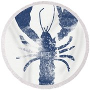 Blue Lobster- Art By Linda Woods Round Beach Towel by Linda Woods