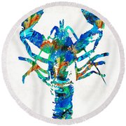 Blue Lobster Art By Sharon Cummings Round Beach Towel