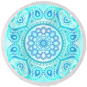 Blue Lotus Mandala Round Beach Towel