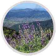D3b6377-blue Lupine And Kenwood  Round Beach Towel