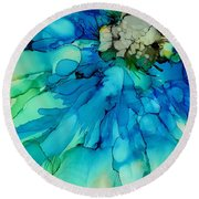Blue Magnificence Round Beach Towel