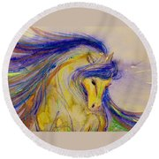 Blue Mane And Tail Round Beach Towel