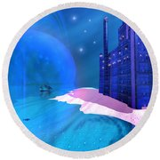 Blue Mansions Round Beach Towel