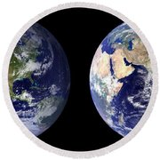 Blue Marble Composite Images Generated By Nasa Round Beach Towel