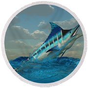 Blue Marlin Burst Round Beach Towel
