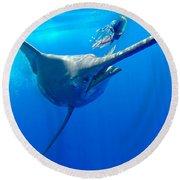Blue Marlin Magic Round Beach Towel