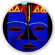 Blue Mask Round Beach Towel by Angela L Walker