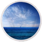 Blue Mediterranean Round Beach Towel by Stelios Kleanthous