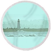Blue Mist 1 Round Beach Towel