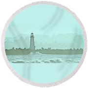 Blue Mist 3 Round Beach Towel