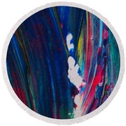 Blue Mood Abstract Round Beach Towel