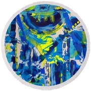 Blue Moon City Round Beach Towel