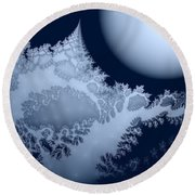 Blue Moon Out My Window Round Beach Towel