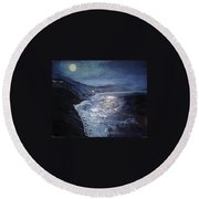 Blue Moon Over Big Sur Round Beach Towel