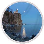 Blue Moonrise At Split Rock Lighthouse Round Beach Towel