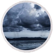 Blue Morning Taal Volcano Philippines Round Beach Towel