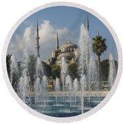 Blue Mosque Through The Fountain Round Beach Towel