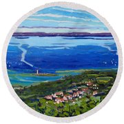 Blue Mountain Blues Round Beach Towel