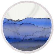 Blue Mountain Fog Round Beach Towel