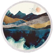 Blue Mountain Reflection Round Beach Towel