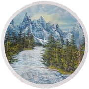 Blue Mountain Torrent Round Beach Towel