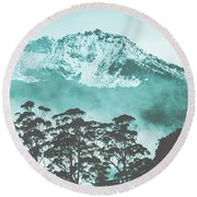 Blue Mountain Winter Landscape Round Beach Towel