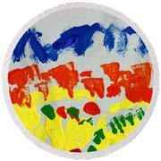 Blue Mountains Even Lemons Limes Oranges And Strawberries Round Beach Towel