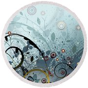 Blue Mystery Forest Of Flowers And Tendrils Round Beach Towel
